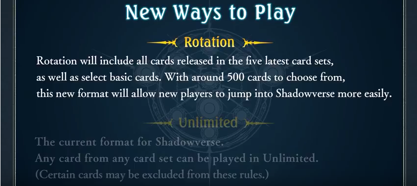 Shadowverse New Game Mode: Rotation - An analysis of the future