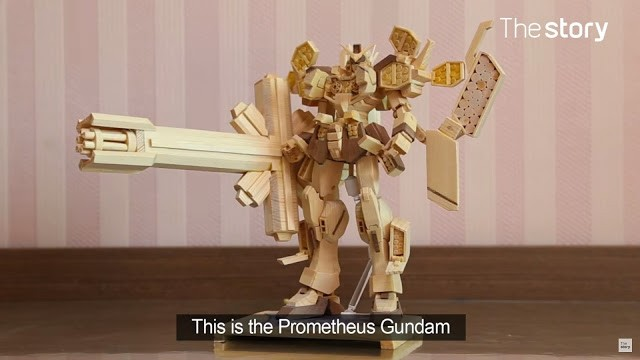 Talented Teenager Constructs Gundam Models with Wooden Chopsticks